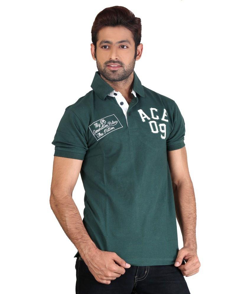Aliep Green V-neck T Shirt