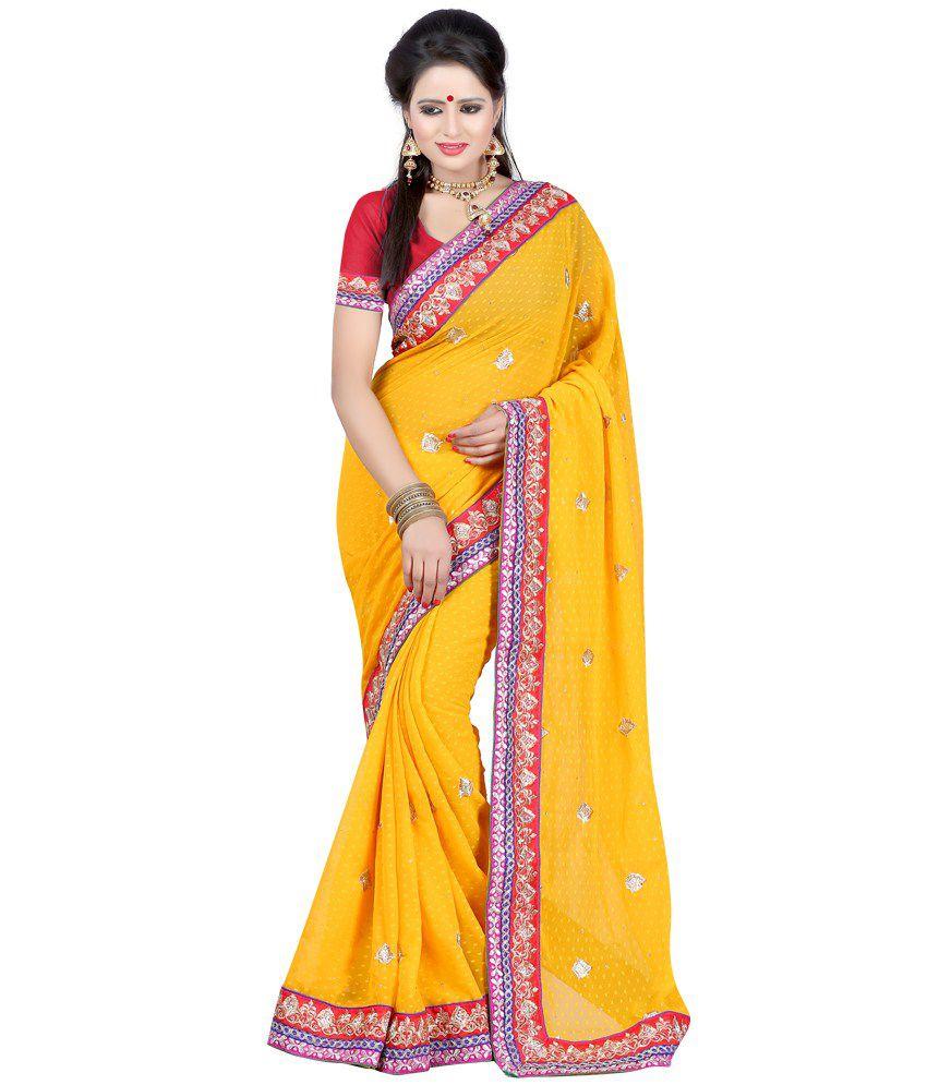 Bunny Sarees Yellow Faux Chanderi Saree