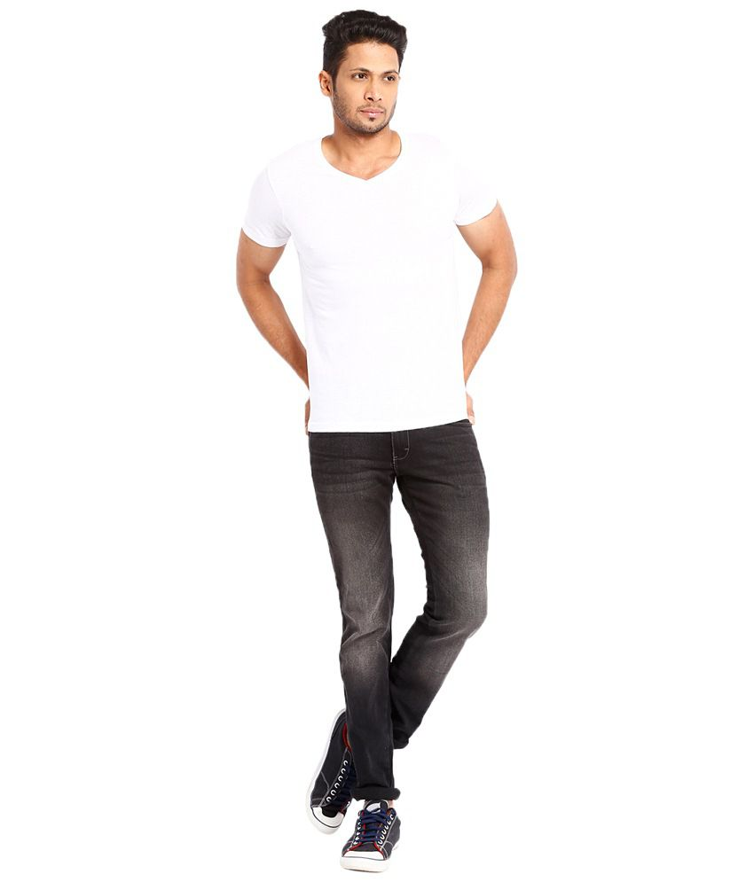 Highlander White Cotton T shirt Regular Fit