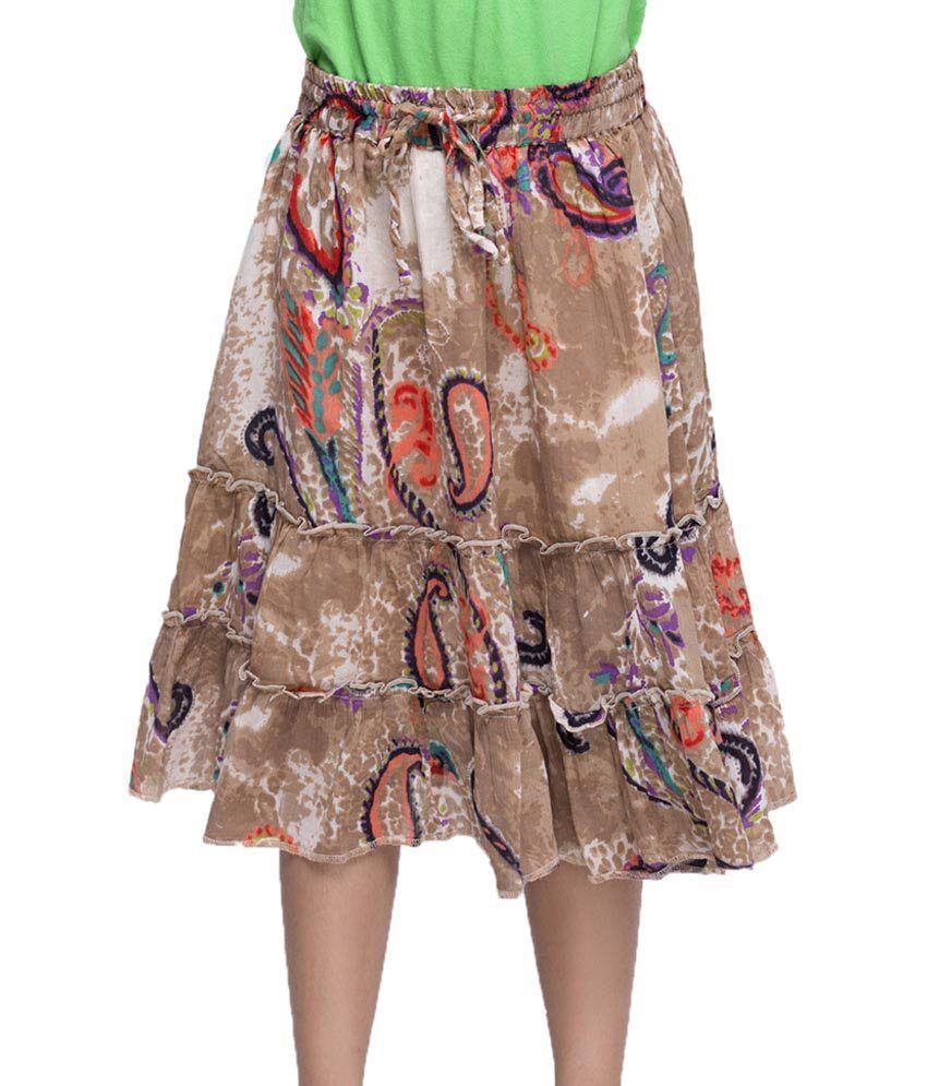 Oxolloxo Brown Printed Skirts