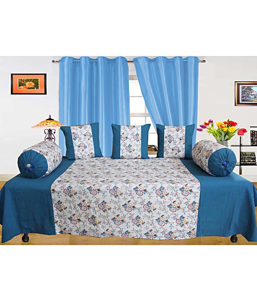 Dekor World Blue Floral Cotton Diwan Set