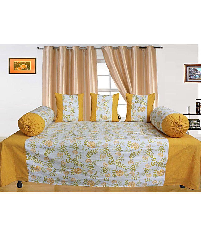 Dekor World Yellow Floral Cotton Diwan Set