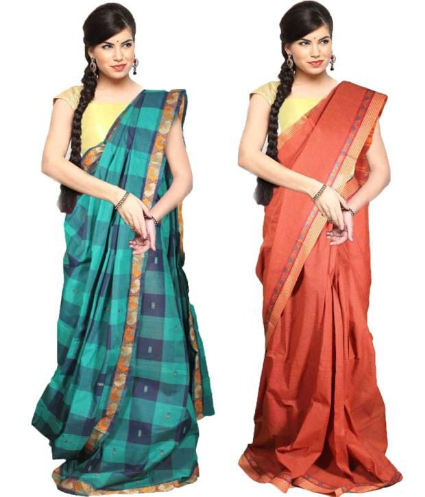 Javuli Traditional South Indian Handloom Chettinad Cotton Saree- Combo Of 2