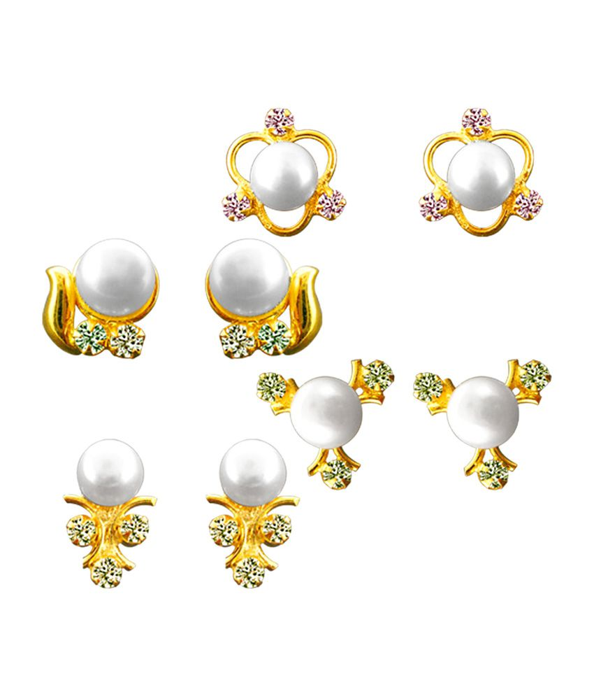 Sri Jagdamba Pearls Pearl Earrings Set - Combo Of 4