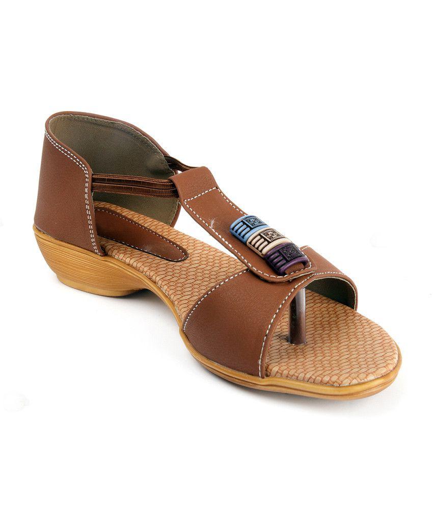 Artist Brown Open Toe Faux Leather Sandal