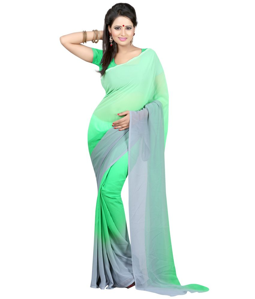 Bunny Sarees Green Faux Georgette Saree