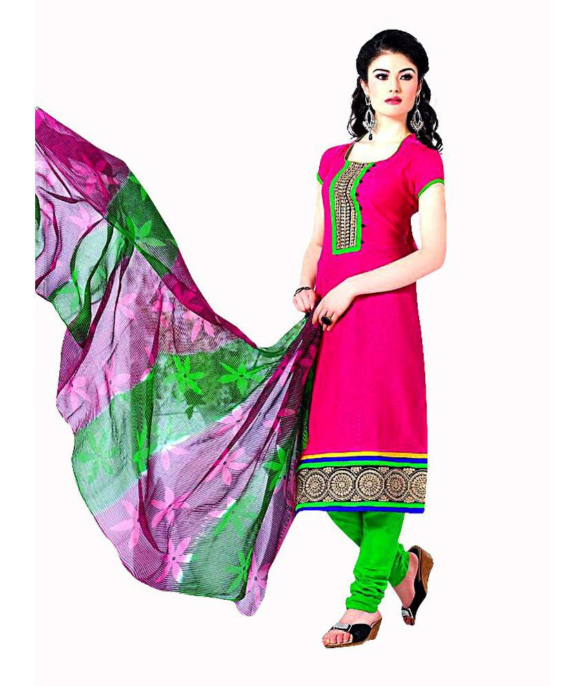Glitzy Pink Jacquard Cotton Straight Fit Salwar Suit