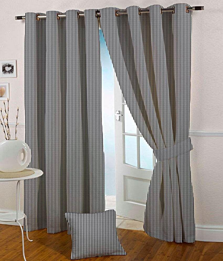 Presto Set of 2 Long Door Eyelet Curtains Stripes