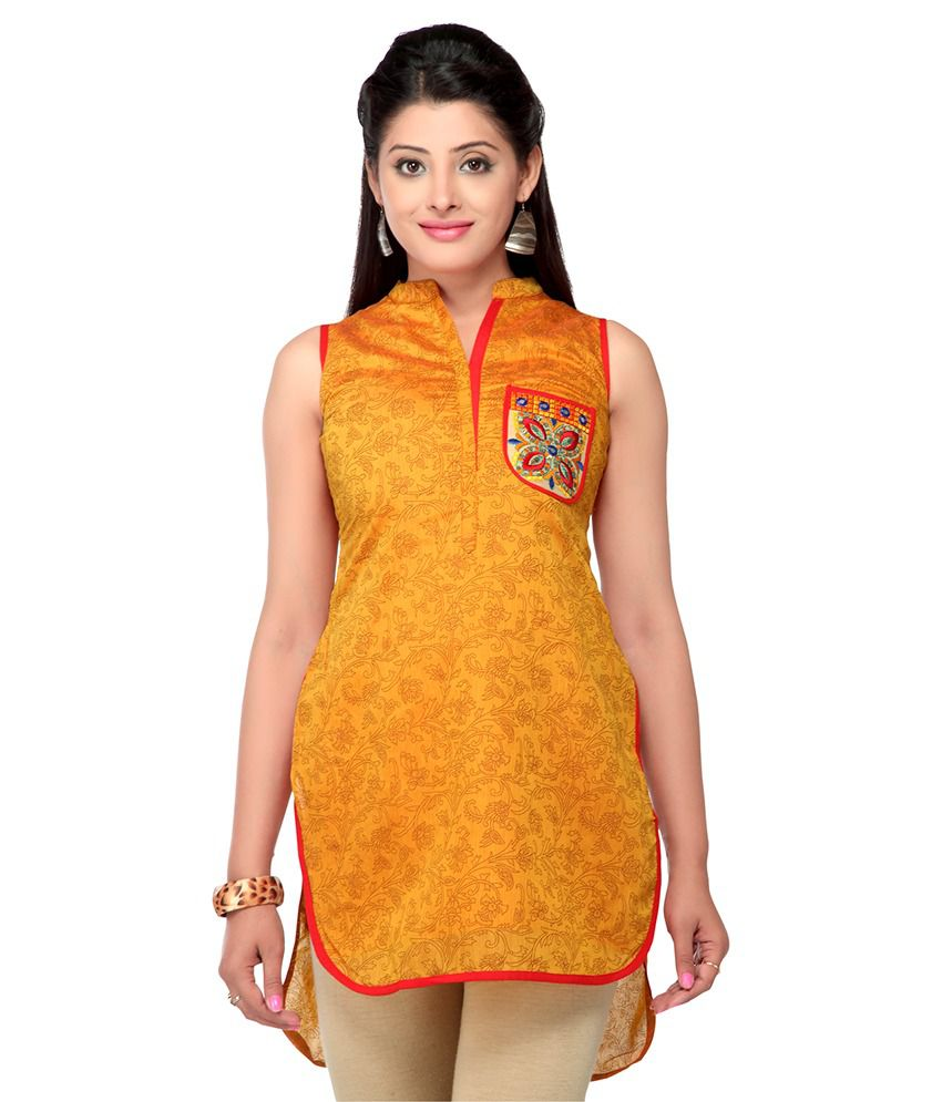 Stop By Shoppers Stop Women Cotton Printed Kurta (yellow)