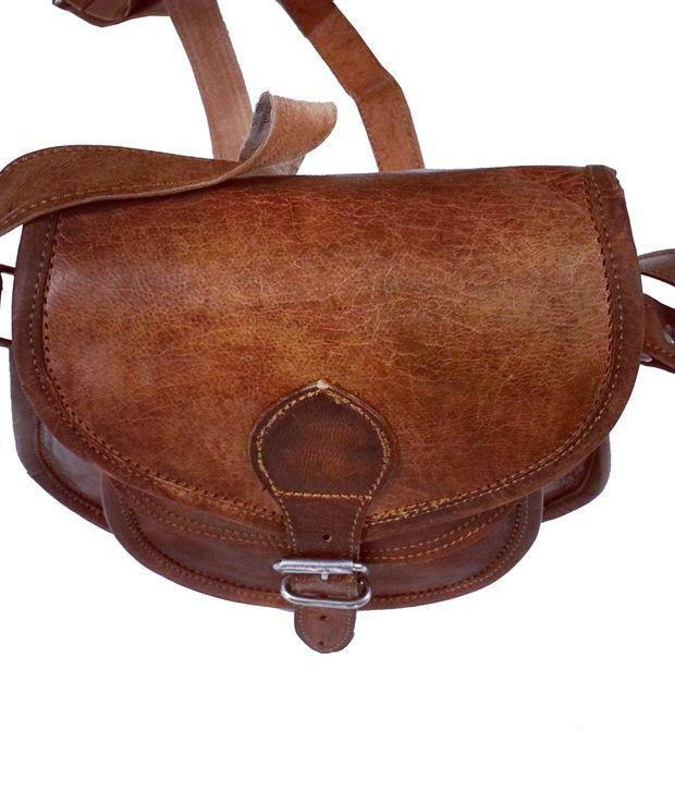 Vintage Brown Leather Sling Bag For Women - Buy Vintage Brown ...