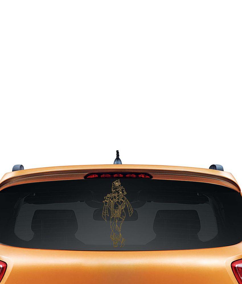 Walldesign Artistic Krishna Car Sticker - Gold