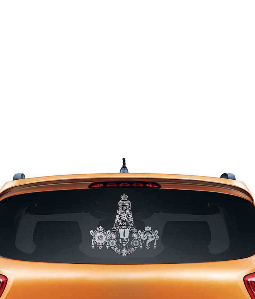 Walldesign Tirupati Balaji Car Sticker - Silver