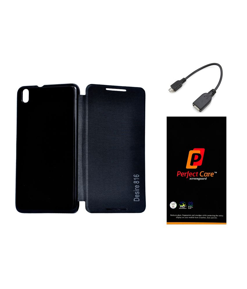 new product 4417c 7ba12 Admire Diary Flip Case Cover For Htc Desire 816 With Hd Clear Screen  Protector Guard & Otg Cable
