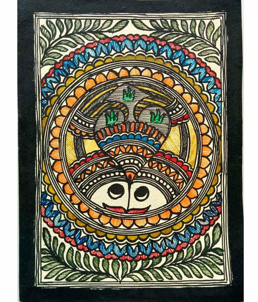 Karukraft madhubani greeting card set4 pieceshandmade paper karukraft madhubani greeting card set4 pieceshandmade paperfamous madhubani colour m4hsunfo