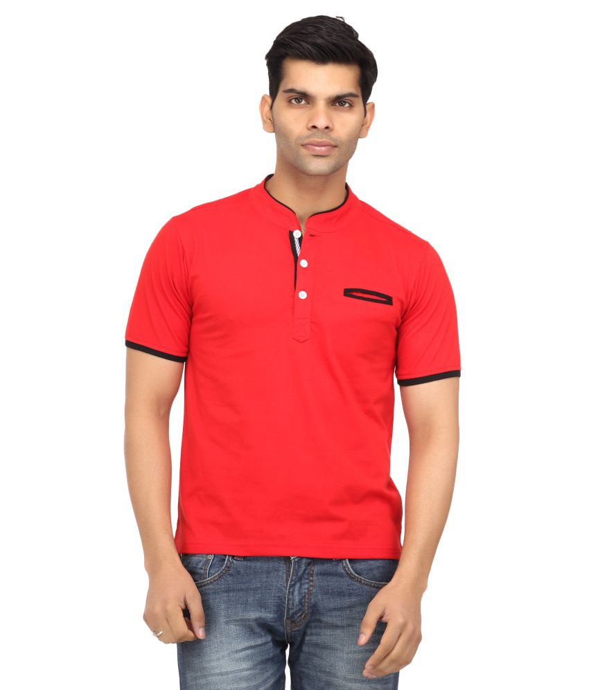 Leana Red Half Henley T Shirt