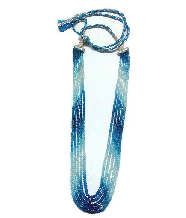 Vinayak American Diamond Blue Topaz Shaded Necklace
