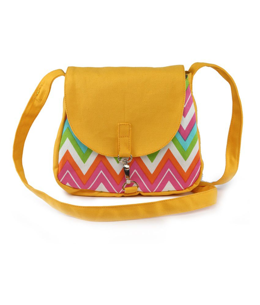 Vivinkaa Yellow Canvas Sling Bag - Buy Vivinkaa Yellow Canvas ...