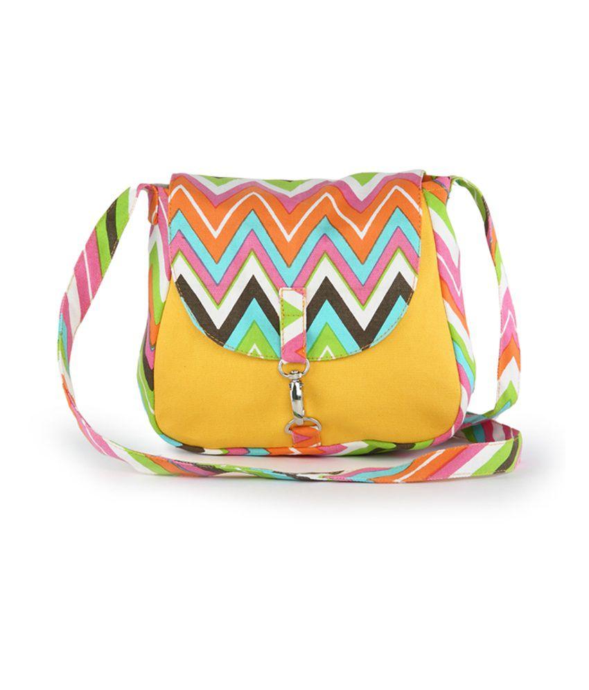 Vivinkaa Yellow Canvas Cloth Trendy Sling Bag - Buy Vivinkaa ...