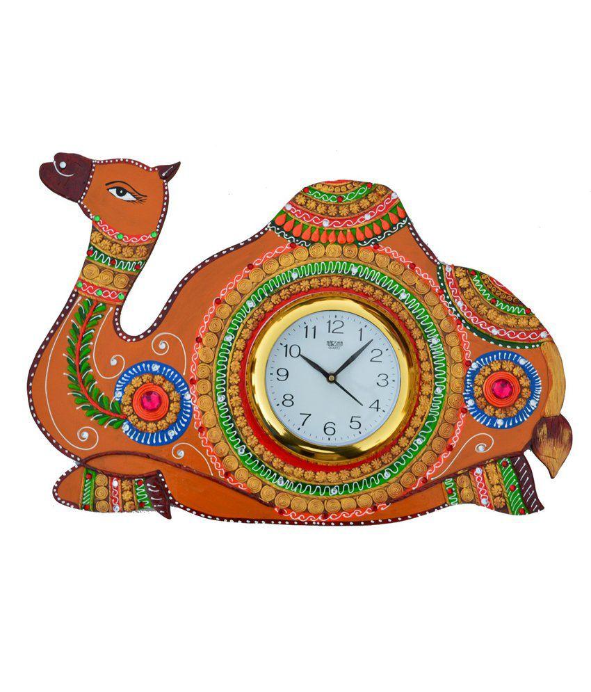 Ecraftindia Papier Mache Camel Wall Clock