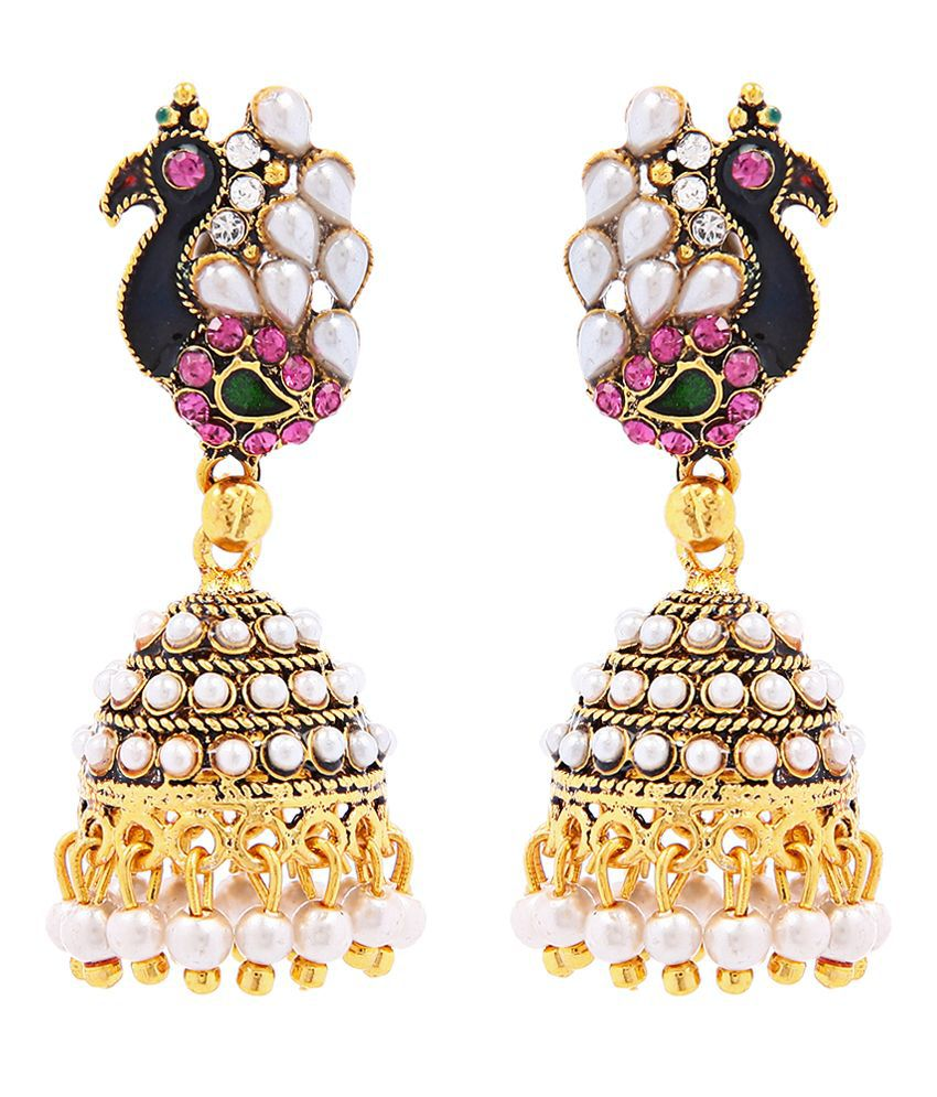 Goldnera Traditional Peacock Designed Jhumki