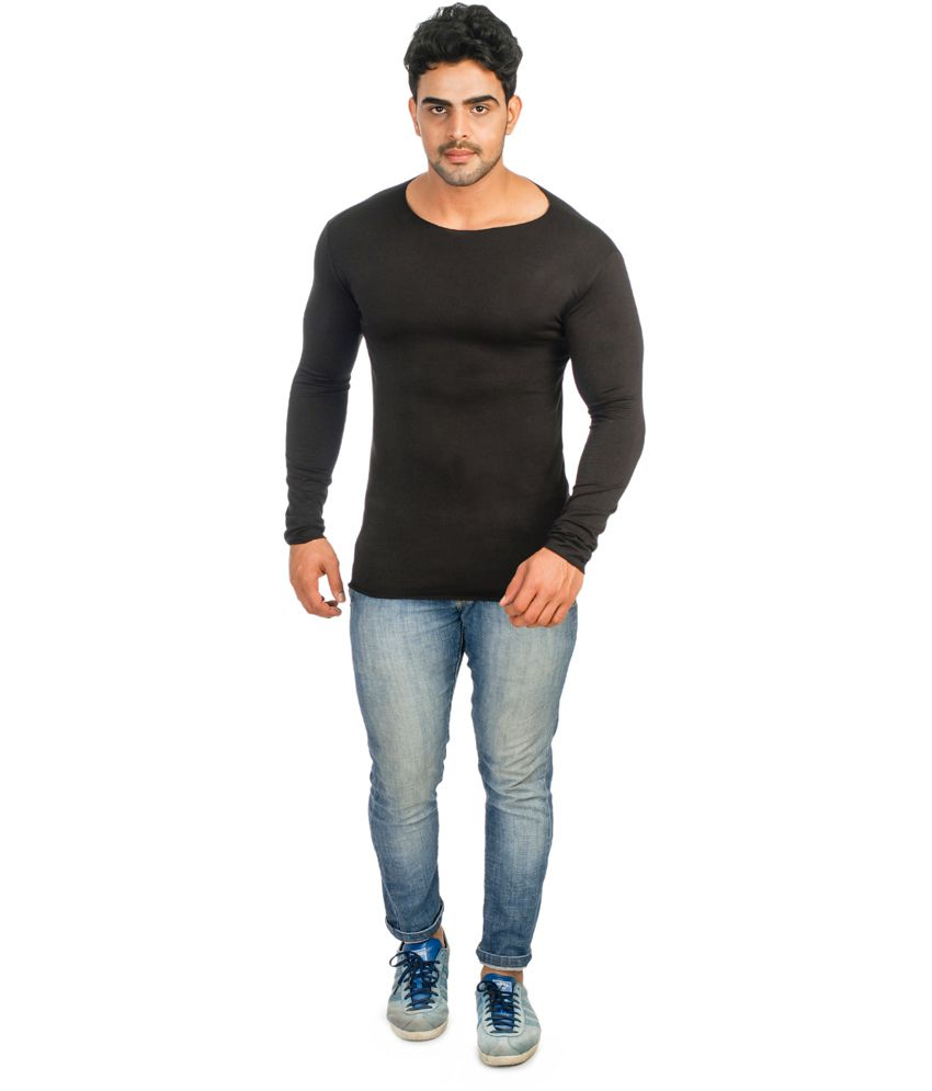 Lycra Black Cotton Blend Round Neck Full Sleeves T-shirt - Buy ...