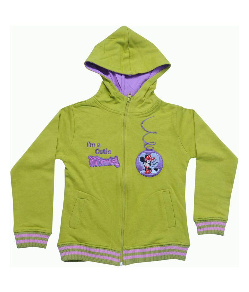 Mintees Green Cotton Patch Work Cutie Minnie Hooded Sweatshirt