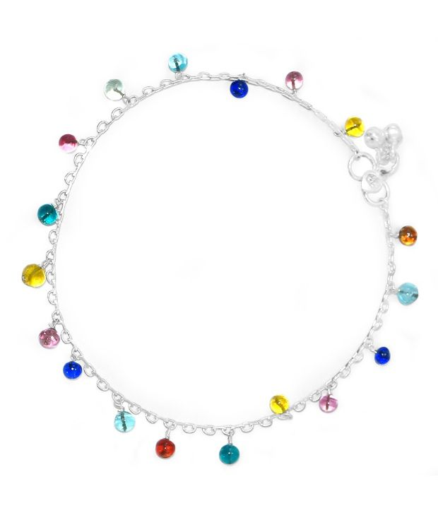 R S Jewels Multi Coloured Beaded German Silver Anklet Jewellery