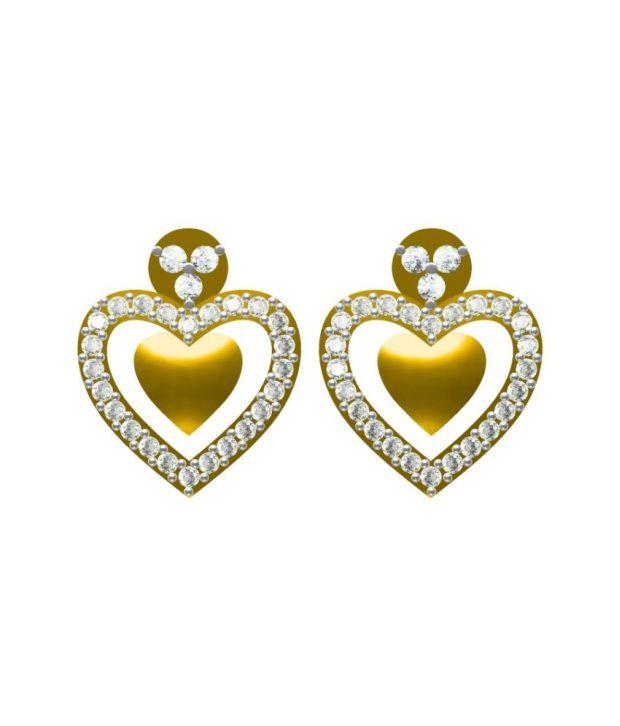 Sakshi Jewels Studs Gold And Vvs Diamond Earrings