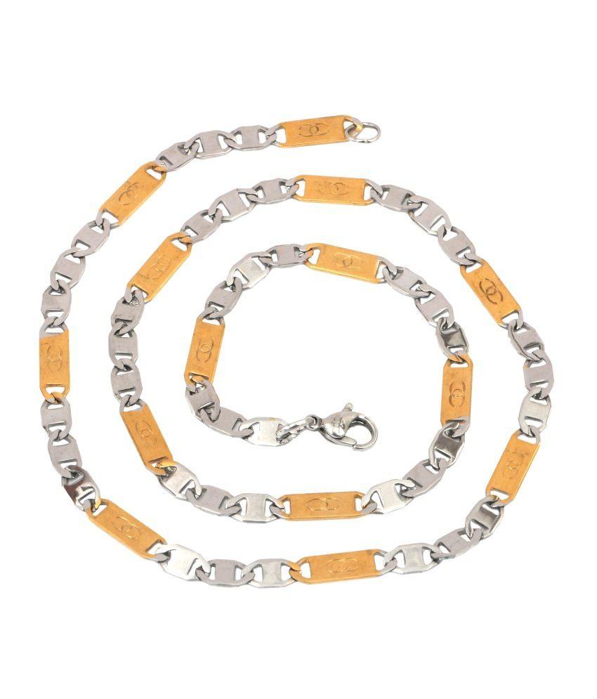 The jewelbox mens stainless steel gold rhodium designer italian link chain 21in