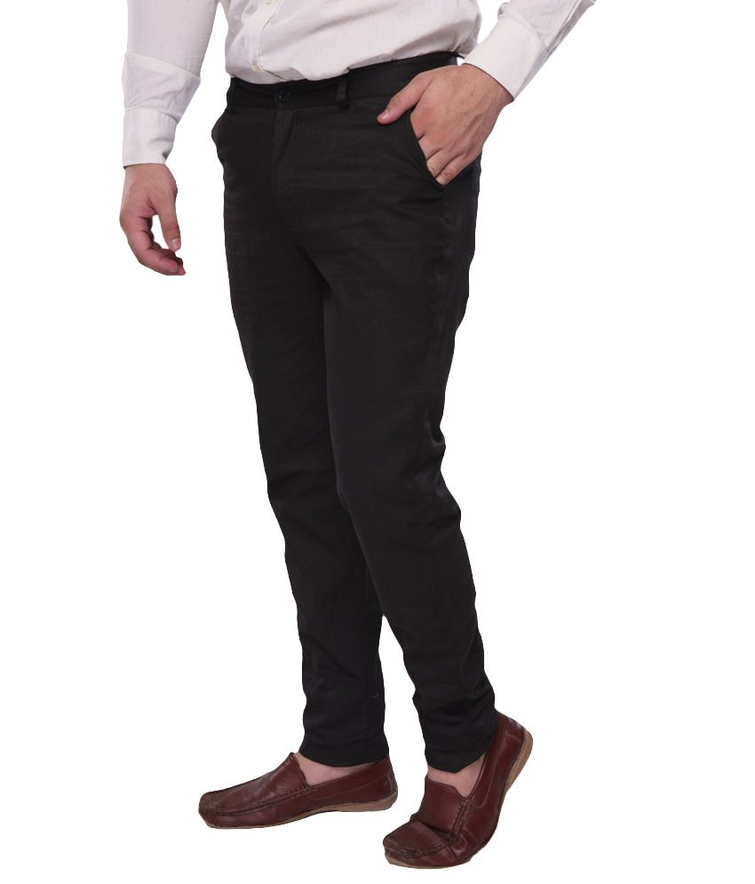 Amaira Black Cotton Casual Slim Fit Chino Trouser