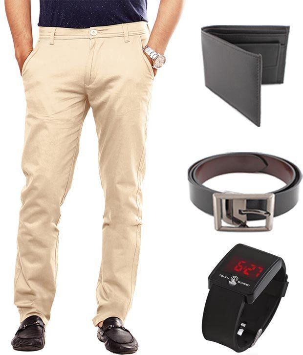 Keepsake Beige Chinos , Watch , Belt , Wallet Combo