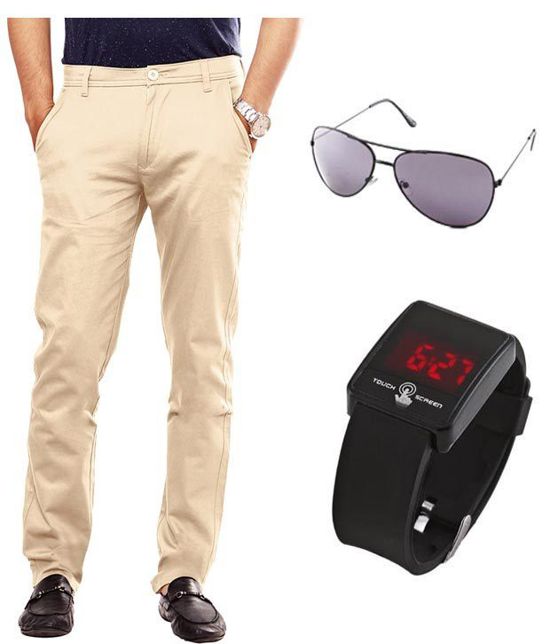 Keepsake Beige Chinos With Watch , Aviator Combo