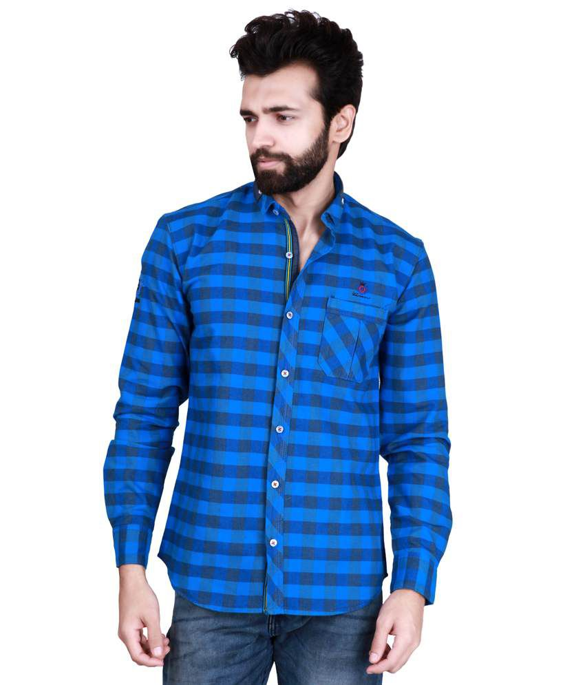 3d09914dd8 Kivon Blue And Navy Checked Slim Fit Men s Casual Shirt - Buy Kivon Blue And  Navy Checked Slim Fit Men s Casual Shirt Online at Best Prices in India on  ...