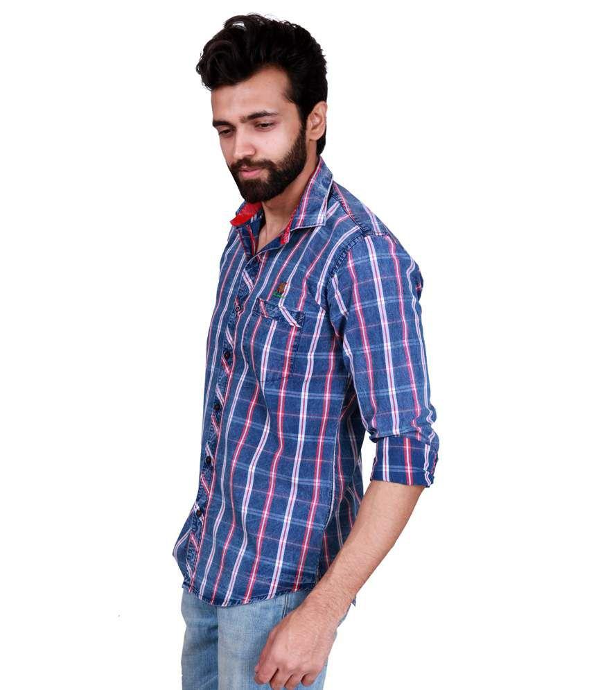 759f2d2b1f Kivon Blue And Red Denim Style Slim Fit Men s Casual Shirt - Buy ...