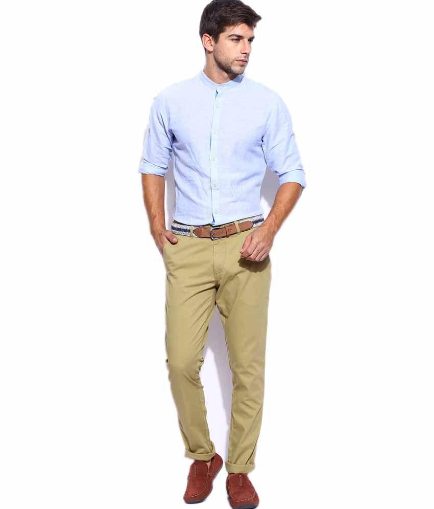 Men Cotton Trouser + Colour Plus Leather Belt + Wrist Watch