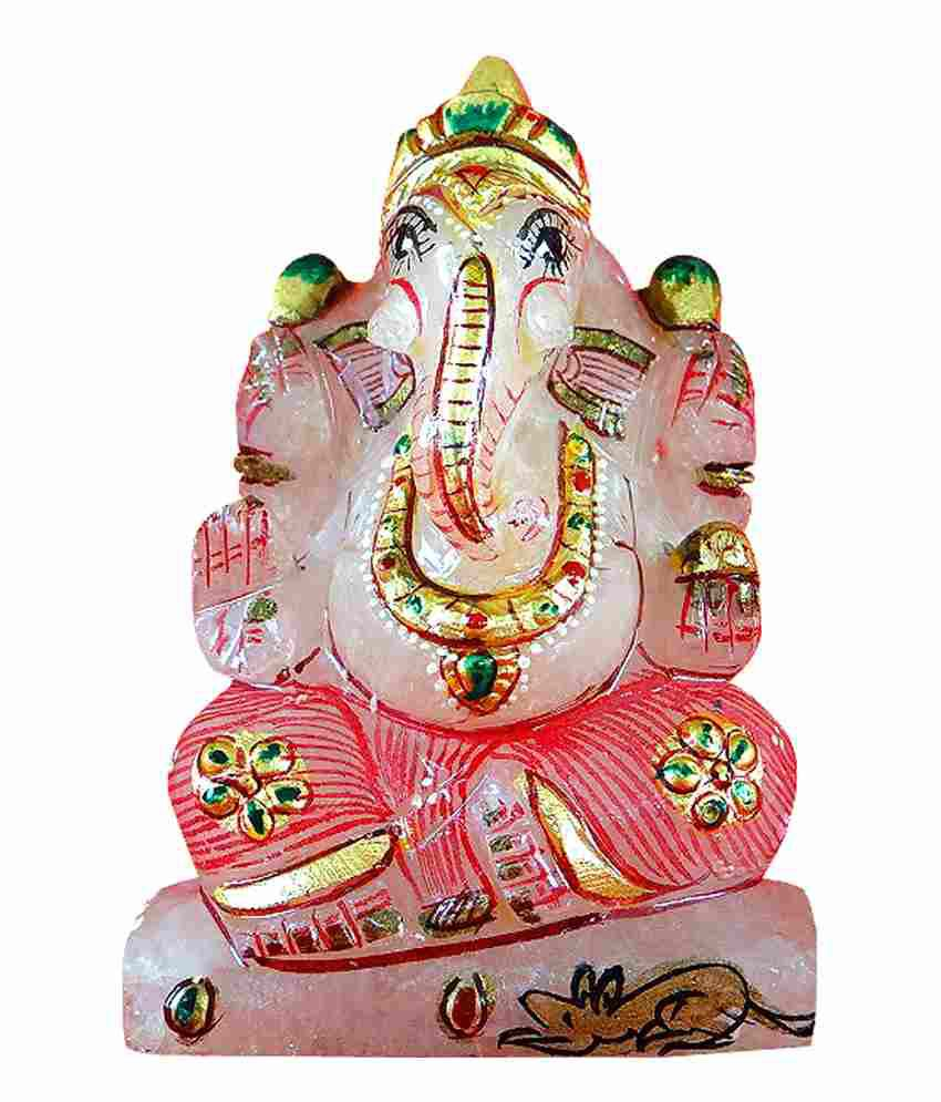 Neelkamal Rose Quartz Handcarved  Real Gold embossed Ganesh Idol
