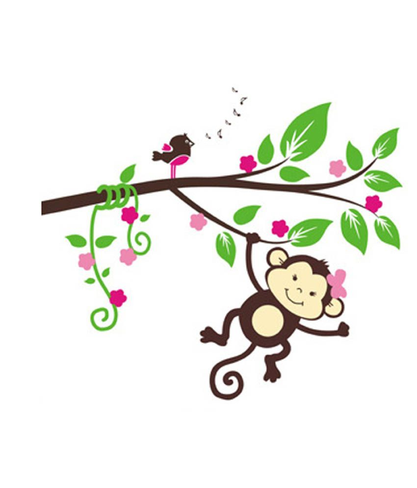 Uberlyfe Cheeky Monkey Hanging From A Colourful Tree Wall Sticker