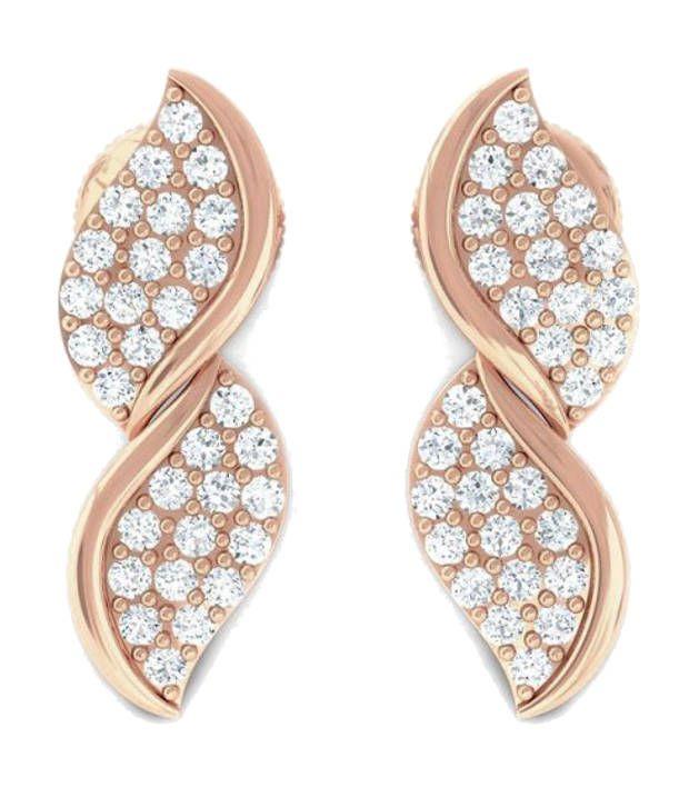 Kreeli 18k Rose Gold Ekani Diamond Earrings With D-f Vs2 Diamond Quality