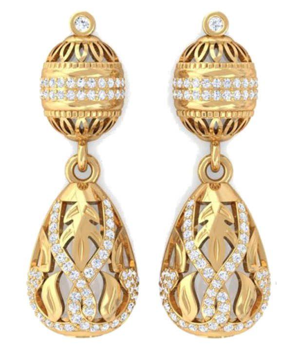 Kreeli 18k Yellow Gold Alisha Diamond Earrings With D-f Vvs1 Diamond Quality