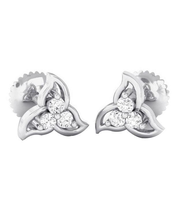 Kreeli 22k White Gold Trillium Diamond Earrings With D-f Vs2 Diamond Quality