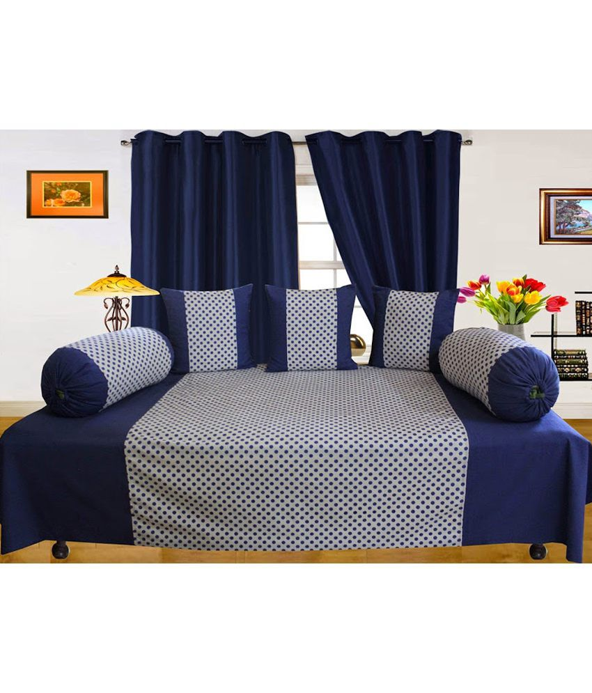 Dekor World Blue Printed Cotton Diwan Set ( 1 Diwan, 3 Cushion Covers, 2 Bolster Covers) (set Of 6)
