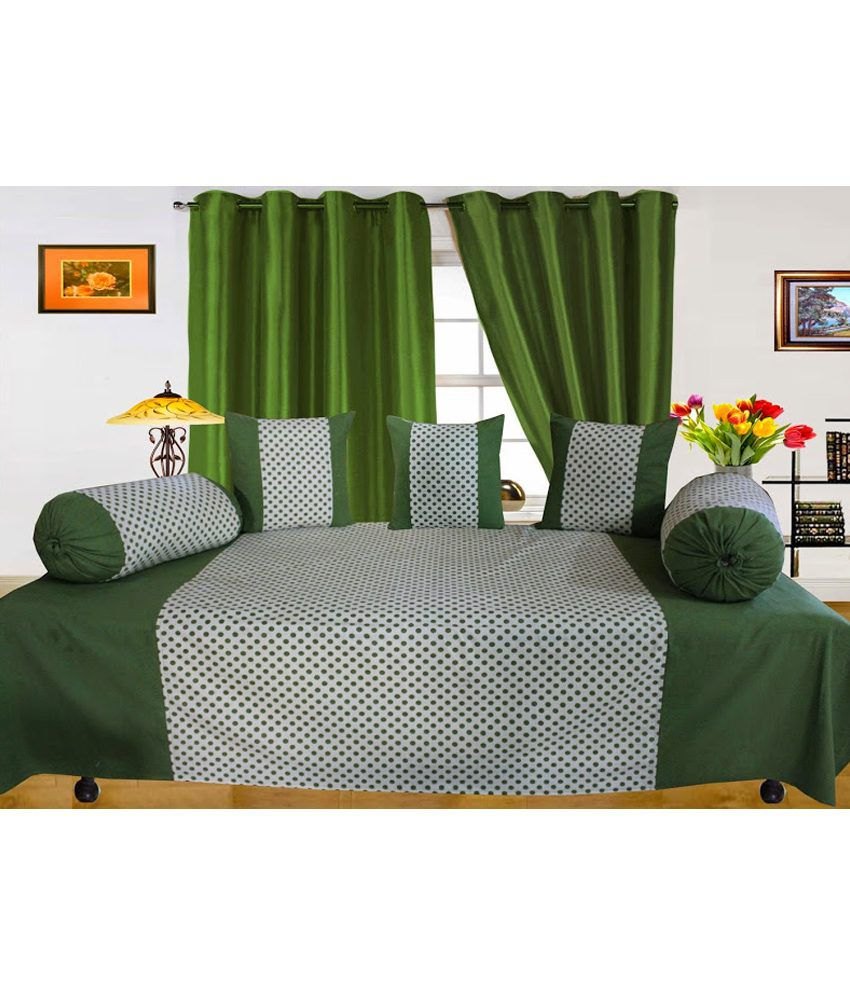 Dekor World Green Printed Cotton Diwan Set ( 1 Diwan, 3 Cushion Covers, 2 Bolster Covers) (set Of 6)