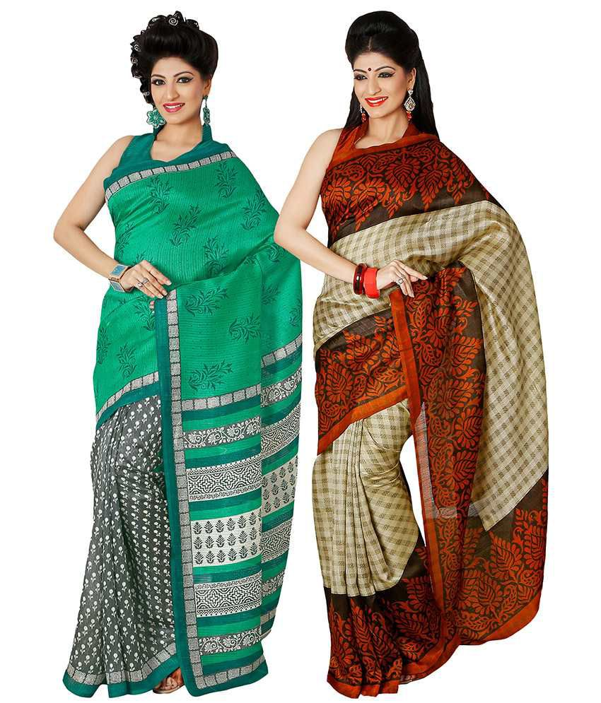Riti Riwaz Multi Color Bhagalpuri Silk Saree