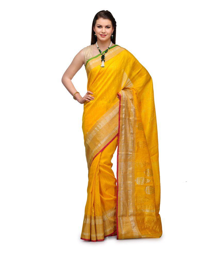 Fabroop Gold Banarsi Matka Handloom Silk Saree