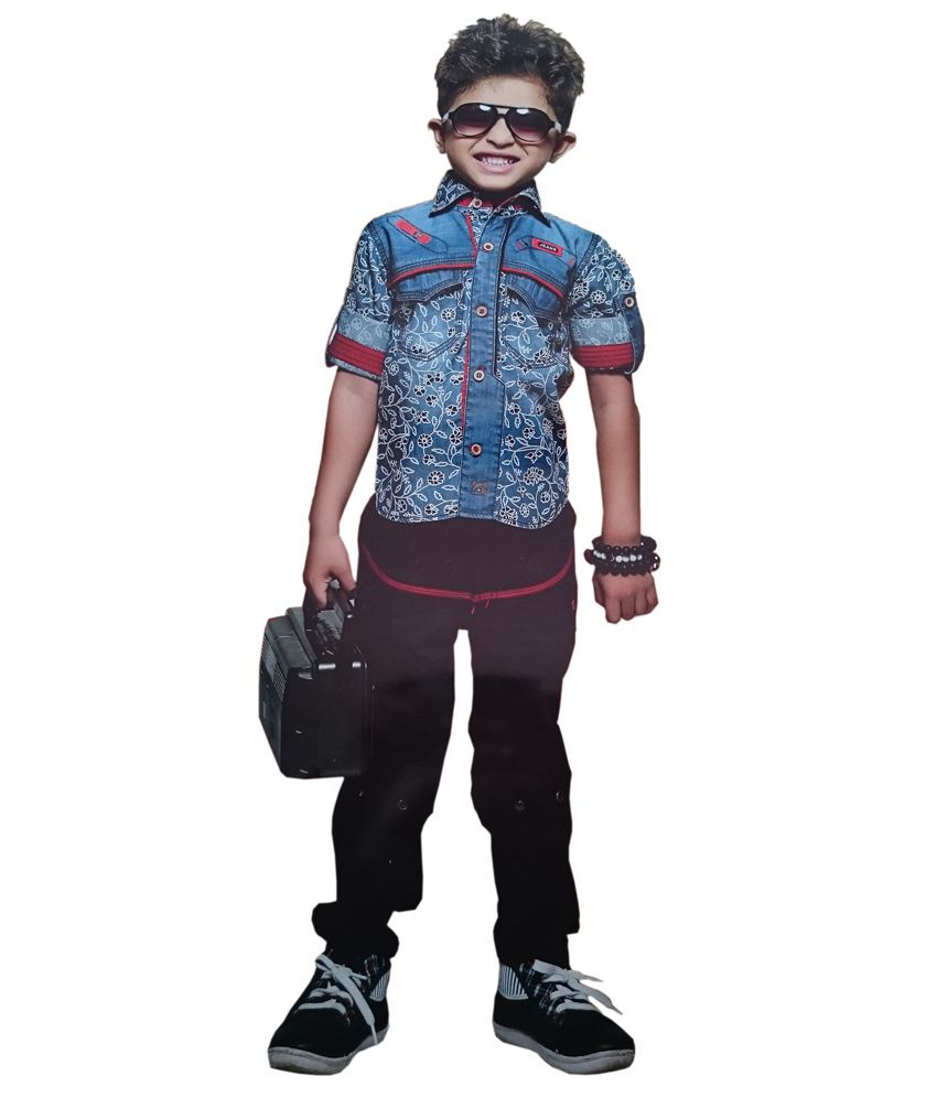 13ae5676f6a Fancy Kids Blue Cotton Shirt   Pants - Buy Fancy Kids Blue Cotton Shirt    Pants Online at Low Price - Snapdeal