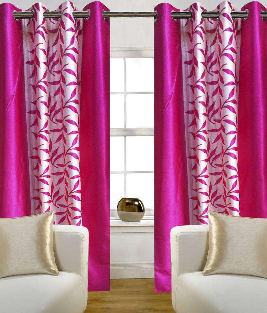 Home Sazz Set of 3 Door Eyelet Curtains Floral Pink Buy Home