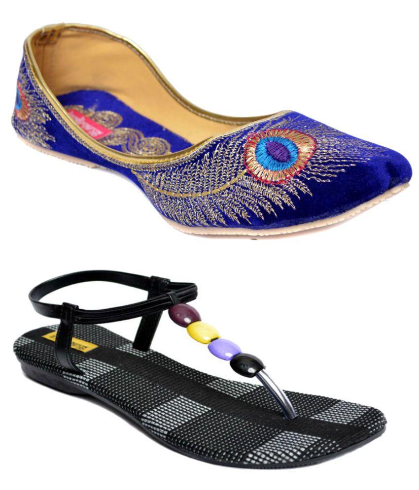 Indirang Blue Juttis And Black Sandal Combo