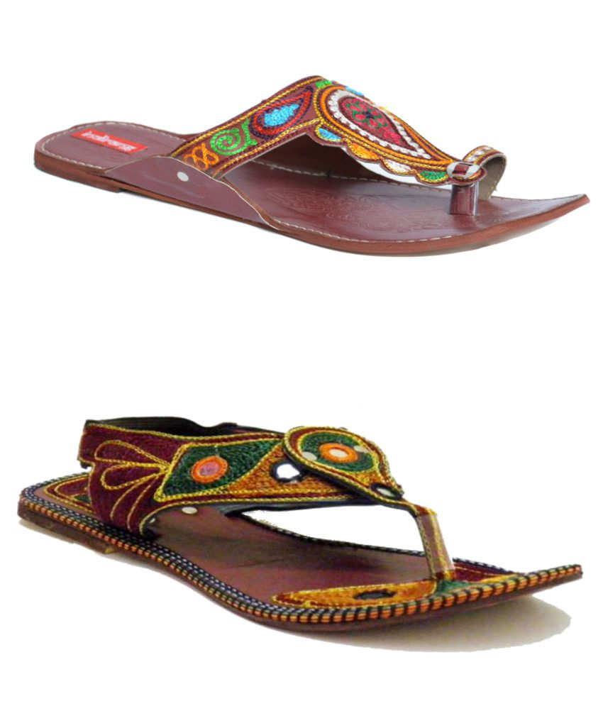 Indirang Brown Flat Slip-on And Red Flat Sandal Combo