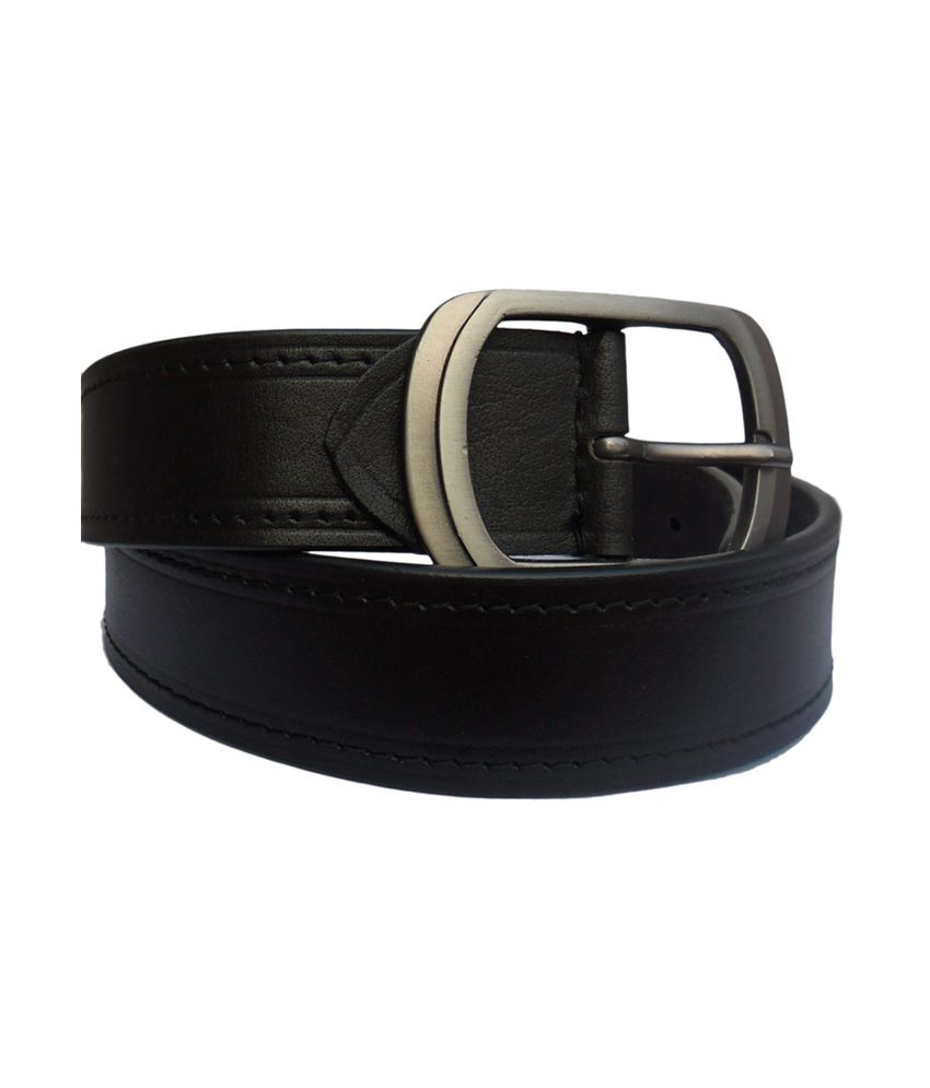 Nikhil Leather Black Leather Plain Single Stiching Belt With Hickok Buckle