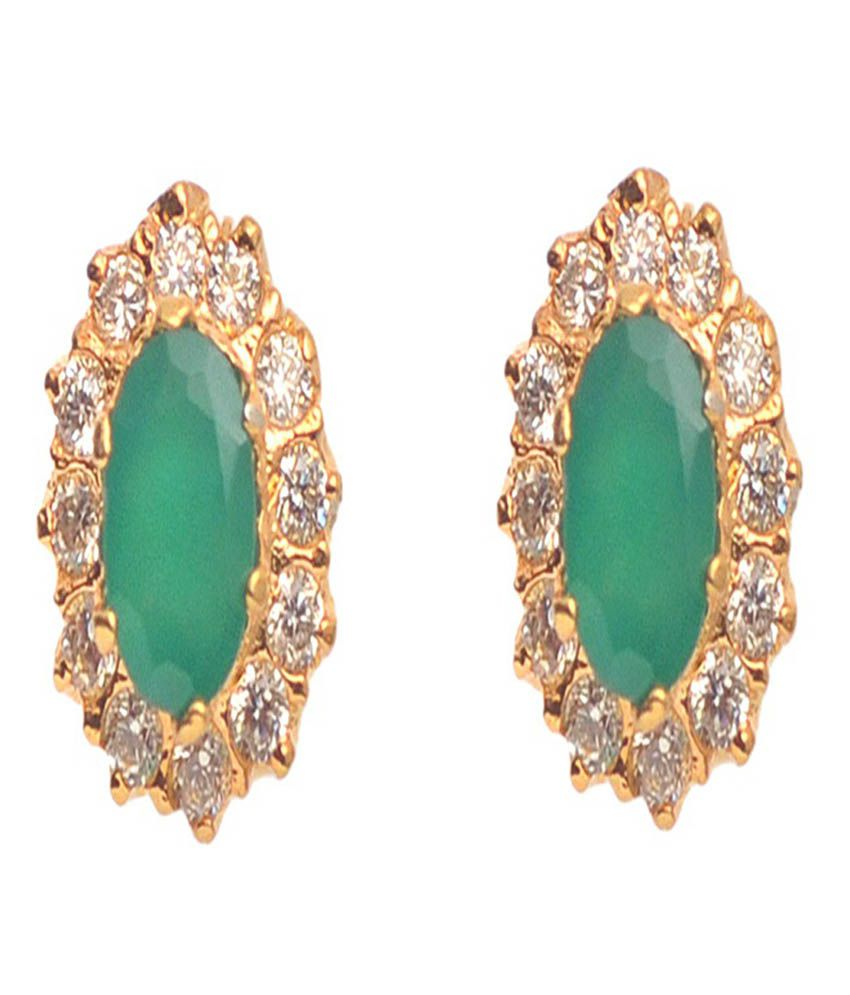 Vinayak Green Push Back Party Wear Stud Earrings